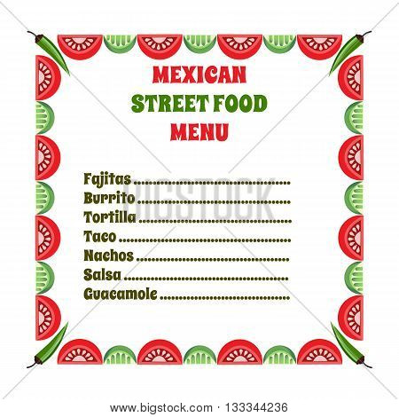 Mexican food style. Mexican cuisine Concept. Traditional menu. Street food menu. Mexico kitchen. Dish menu. Vector Illustration