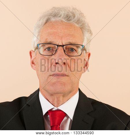 Portrait Formally dressed Senior business man with neck tie
