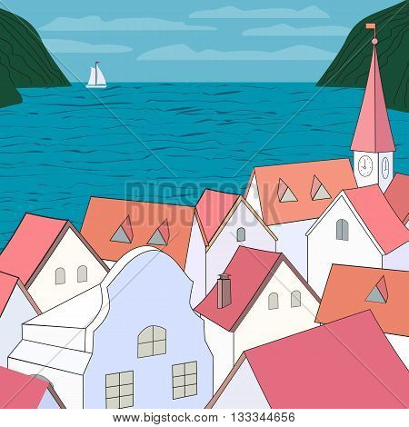 City rooftop. Old western cityscape Concept. Old town on sea panoramic view. Building rooftops blue sea sky white yach green mountains. Red roofs on Mediterranean sea. Vector Illustration