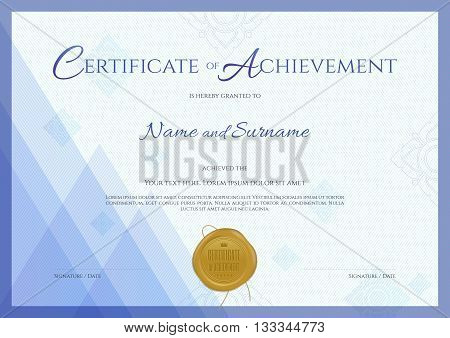 Modern certificate of achievement template with blue theme background Thai line and gold wax seal