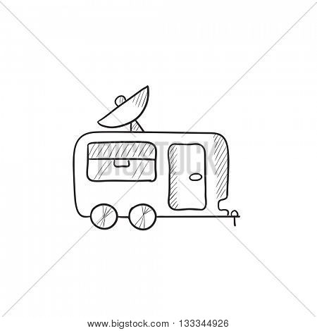 Caravan with satellite dish vector sketch icon isolated on background. Hand drawn Caravan with satellite dish icon. Caravan with satellite dish sketch icon for infographic, website or app.