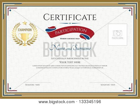 Certificate of participation template with gold broder gold trophy champion wreath and photo space