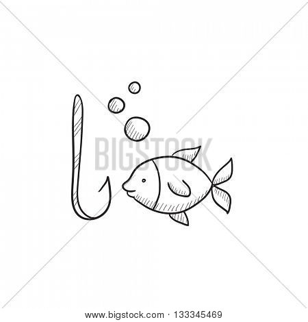 Fish with hook vector sketch icon isolated on background. Hand drawn Fish with hook icon. Fish with hook sketch icon for infographic, website or app.