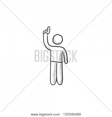 Man giving signal with starting gun vector sketch icon isolated on background. Hand drawn Man giving signal with starting gun icon. Man with starting gun sketch icon for infographic, website or app.