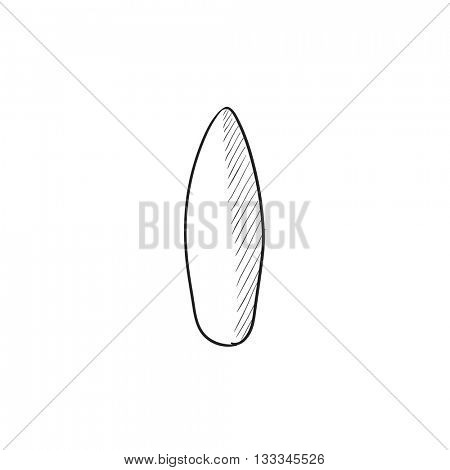 Surfboard vector sketch icon isolated on background. Hand drawn Surfboard icon. Surfboard sketch icon for infographic, website or app.