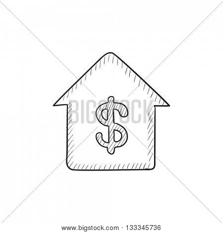 House with dollar symbol vector sketch icon isolated on background. Hand drawn House with dollar symbol icon. House with dollar symbol sketch icon for infographic, website or app.