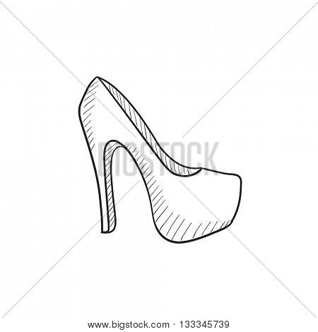 High heel shoe vector sketch icon isolated on background. Hand drawn High heel shoe icon. High heel shoe sketch icon for infographic, website or app.