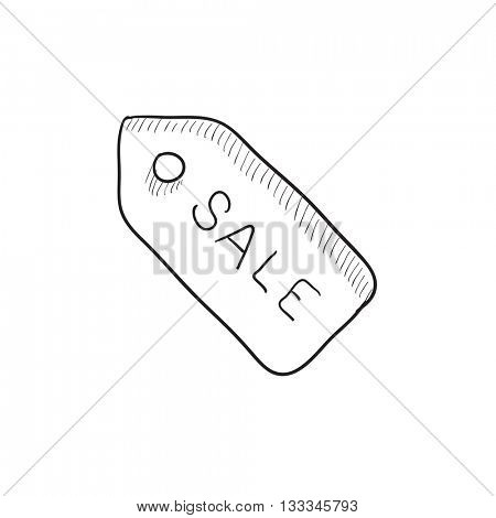 Sale tag vector sketch icon isolated on background. Hand drawn Sale tag icon. Sale tag sketch icon for infographic, website or app.