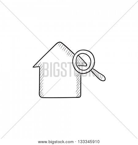 House and magnifying glass vector sketch icon isolated on background. Hand drawn House and magnifying glass icon. House and magnifying glass sketch icon for infographic, website or app.