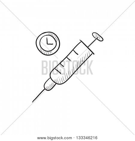 Syringe vector sketch icon isolated on background. Hand drawn Syringe icon. Syringe sketch icon for infographic, website or app.