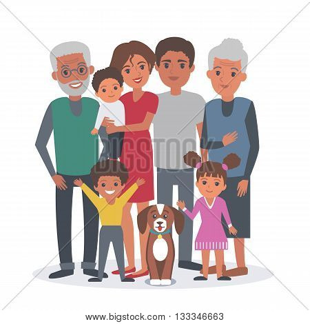 Big african american family vector illustration. Big family with children parents grandparents and dog. Family african american portrait isolated on white background.