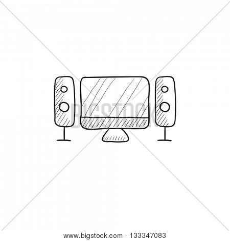 Home cinema system vector sketch icon isolated on background. Hand drawn  Home cinema system icon.  Home cinema system sketch icon for infographic, website or app.