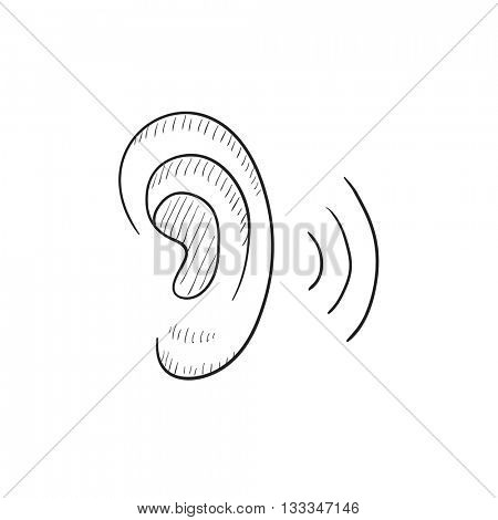Human ear vector sketch icon isolated on background. Hand drawn Human ear icon. Human ear sketch icon for infographic, website or app.