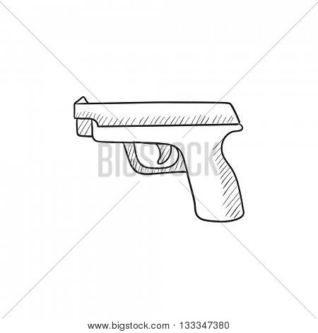 Handgun vector sketch icon isolated on background. Hand drawn Handgun icon. Handgun sketch icon for infographic, website or app.
