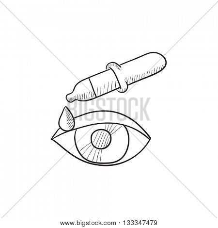 Pipette and eye vector sketch icon isolated on background. Hand drawn Pipette and eye icon. Pipette and eye sketch icon for infographic, website or app.