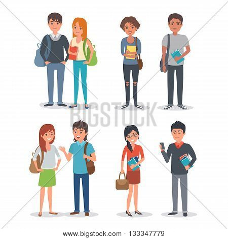 Young international student characters collection. Students Lifestyle. Vector students illustration.