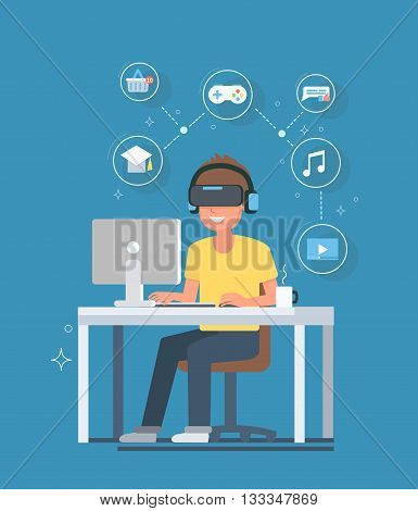 Virtual reality concept illustrated future of VR. Man with virtual reality glasses and headset sitting at a computer desk. Vector illustration.