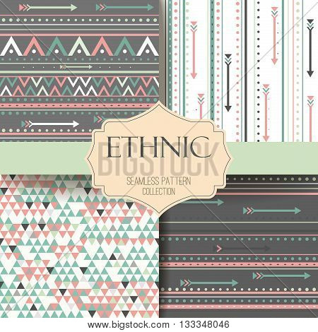Seamless vector tribal texture set. Tribal seamless texture. Vintage ethnic seamless backdrop. Boho stripes. Striped vintage boho fashion style ethnic pattern background with tribal shape elements.