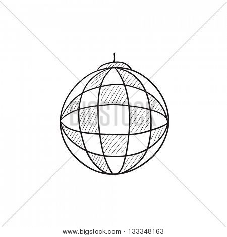Disco ball vector sketch icon isolated on background. Hand drawn Disco ball icon. Disco ball sketch icon for infographic, website or app.