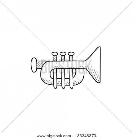 Trumpet vector sketch icon isolated on background. Hand drawn Trumpet icon. Trumpet sketch icon for infographic, website or app.