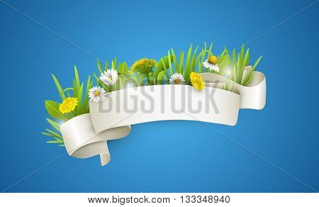 Floral background with dandelions and chamomiles. Silk white ribbon with wildflowers. Vector floral banner.