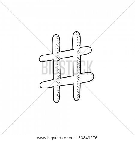 Hashtag symbol vector sketch icon isolated on background. Hand drawn Hashtag symbol icon. Hashtag symbol sketch icon for infographic, website or app.