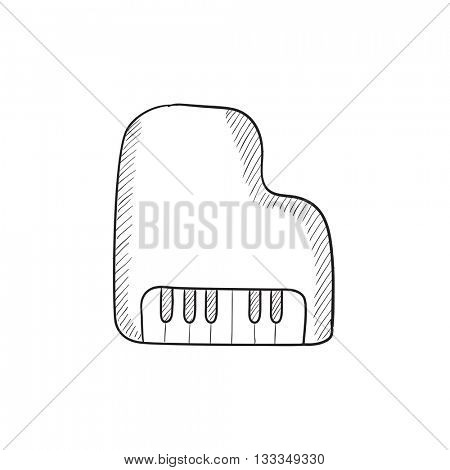 Piano vector sketch icon isolated on background. Hand drawn Piano icon. Piano sketch icon for infographic, website or app.