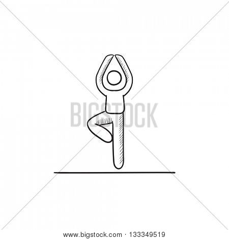 Man standing in yoga tree pose vector sketch icon isolated on background. Hand drawn Man standing in yoga tree pose icon. Man standing in yoga tree pose sketch icon for infographic, website or app.