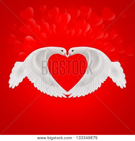 Two white doves make the shape of the wings of the red heart