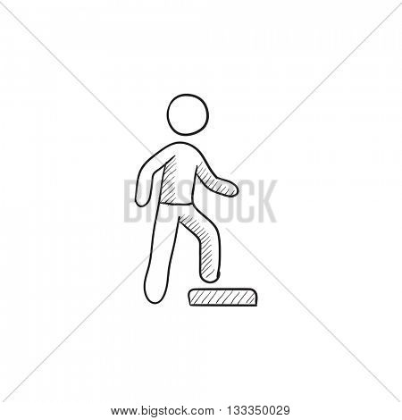 Man doing step exercise vector sketch icon isolated on background. Hand drawn Man doing step exercise icon. Man doing step exercise sketch icon for infographic, website or app.