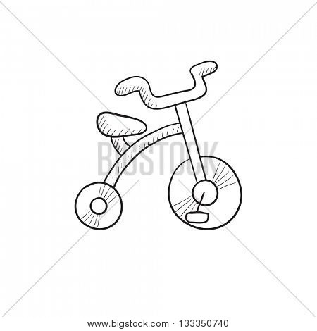 Child bike vector sketch icon isolated on background. Hand drawn Child bike icon. Child bike sketch icon for infographic, website or app.