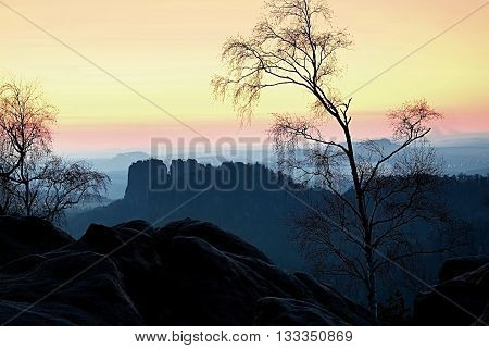 Deep Misty Valley Within Sunset. Foggy And Misty Moment On Sandstone View Poin