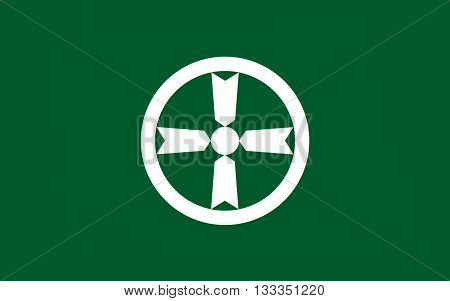 Flag of Akita is the capital city of Akita Prefecture Japan 3D rendering