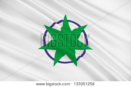Flag of Aomori is the capital city of Aomori Prefecture in the northern Tohoku region of northern Japan 3D rendering