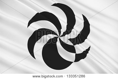 Flag of Ehime Prefecture is a prefecture in northwestern Shikoku Japan. The capital is Matsuyama. 3D rendering