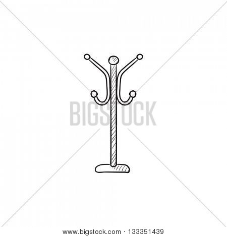 Hanger for outer clothing vector sketch icon isolated on background. Hand drawn Hanger for outer clothing icon. Hanger for outer clothing sketch icon for infographic, website or app.