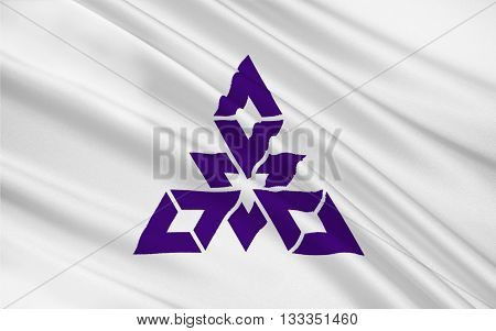 Flag of Fukuoka is the capital city of Fukuoka Prefecture and is situated on the northern shore of the island of Kyushu in Japan. 3D rendering