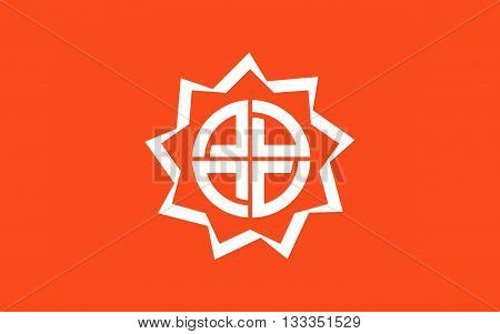 Flag of Fukushima is the capital city of Fukushima Prefecture Japan 3D rendering