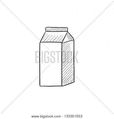 Packaged dairy product vector sketch icon isolated on background. Hand drawn Packaged dairy product icon. Packaged dairy product sketch icon for infographic, website or app.