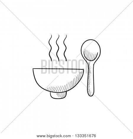 Bowl of hot soup with spoon vector sketch icon isolated on background. Hand drawn Bowl of hot soup with spoon icon. Bowl of hot soup with spoon sketch icon for infographic, website or app.