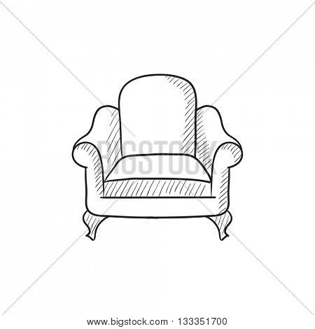 Armchair vector sketch icon isolated on background. Hand drawn Armchair icon. Armchair sketch icon for infographic, website or app.