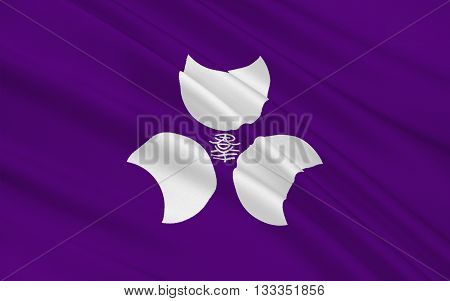 Flag of Gunma Prefecture is a prefecture of Japan located in the northwest corner of the Kanto region on the main Honshu island. Its capital is Maebashi. 3D rendering