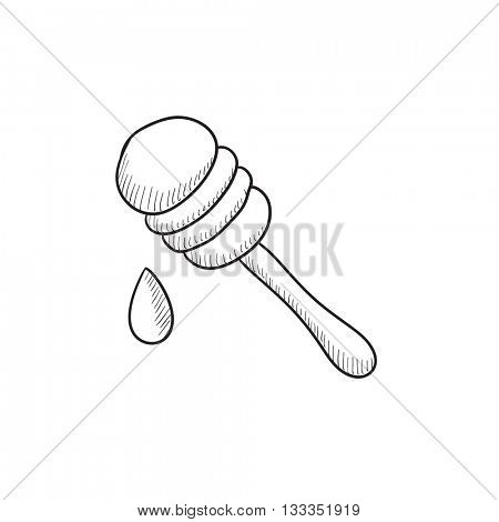 Honey dipper vector sketch icon isolated on background. Hand drawn Honey dipper icon. Honey dipper sketch icon for infographic, website or app.