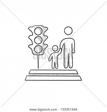 Parent and child crossing street vector sketch icon isolated on background. Hand drawn Parent and child crossing street icon. Parent and child crossing street icon for infographic, website or app.