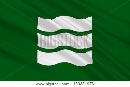 Flag of Hiroshima is the capital of Hiroshima Prefecture and the largest city in the Chugoku region of western Honshu - the largest island of Japan. 3D rendering