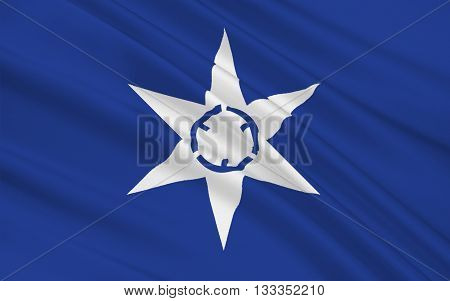 Flag of Mito is the capital city of Ibaraki Prefecture in the northern Kantō region of Japan 3D rendering