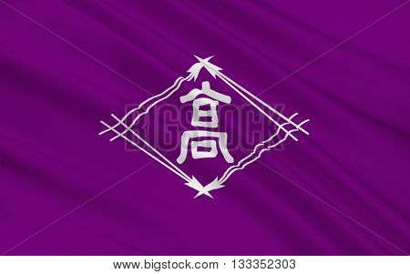 Flag of Takamatsu is a city located in central Kagawa Prefecture on the island of Shikoku in Japan. 3D rendering