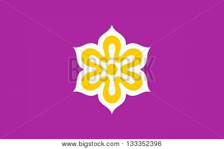 Flag of Kyoto Prefecture is a prefecture of Japan located in the Kansai region of the island of Honshu. 3D rendering