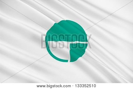 Flag of Nagano the capital city of Nagano Prefecture Japan. 3D rendering