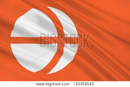 Flag of Nagano Prefecture is a landlocked prefecture of Japan located in the Chubu region of the island of Honshu. 3D rendering